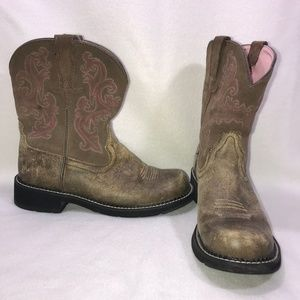 Ariat FatBaby Brown Pink Leather Roper Boots 10B